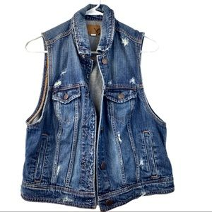 AE Distressed Denim Jean Jacket Vest Size Large